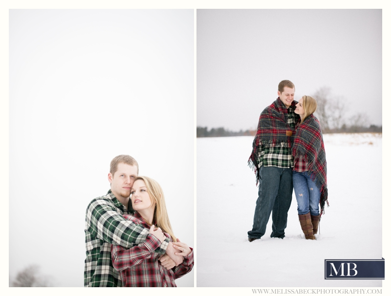Flannel Snow Couple in a blanket Kennebunk maine