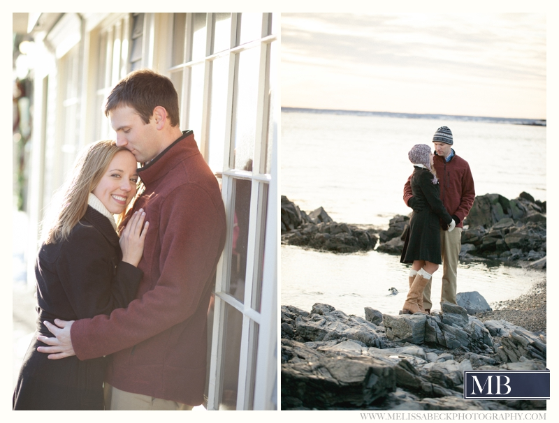 engagement photo on kennebunkport beach