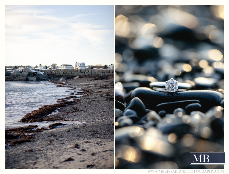 engagement ring on a rock kennebunkport
