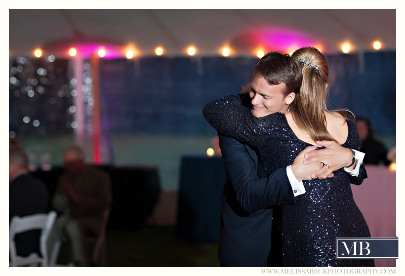 groom and mother dancing at wedding reception