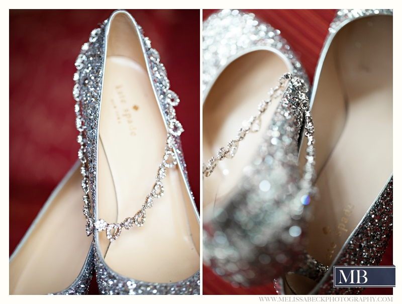 silver kate spade wedding shoes and jewelery