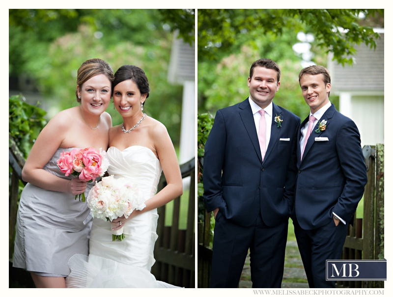 maid of honor and bride, best man and groom