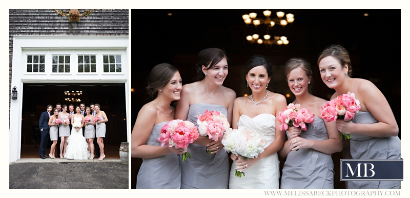 wedding party portraits in front of a gray barn at Mt Hope Farms