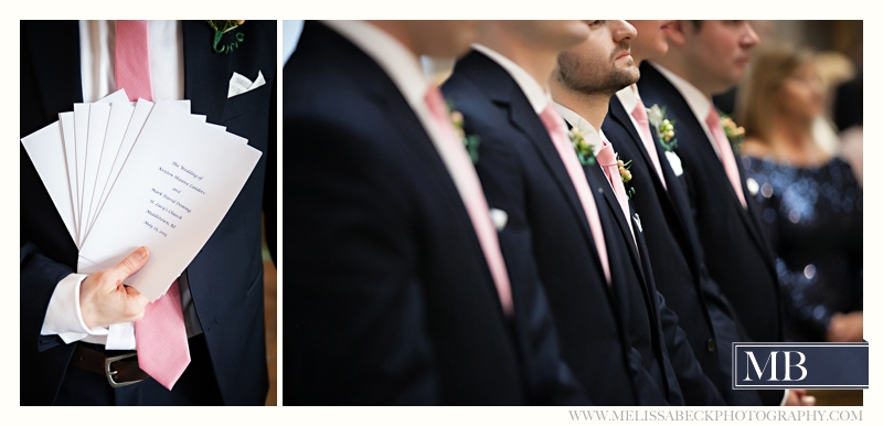 wedding programs and grooms standing at attention