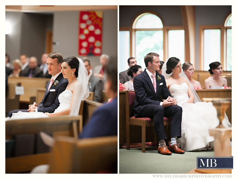 bride and groom seated at church ceremony