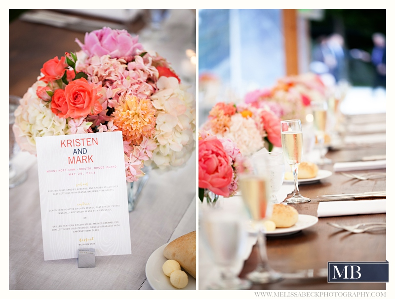 wedding table marker and flowers
