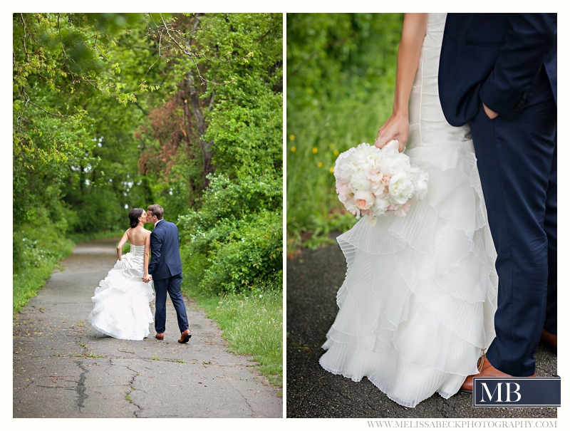 bride and groom kissing and a bridal bouquet