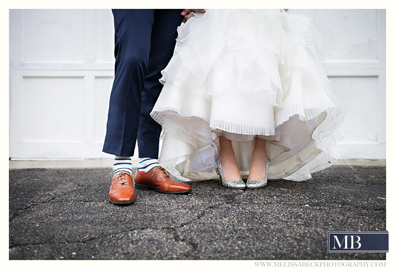 bride and groom fun striped socks and shoes
