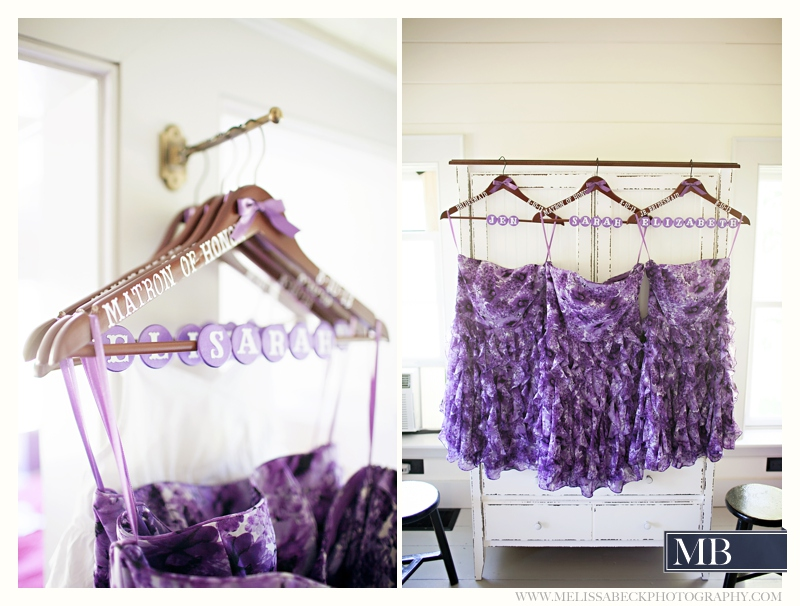 hanging purple dresses