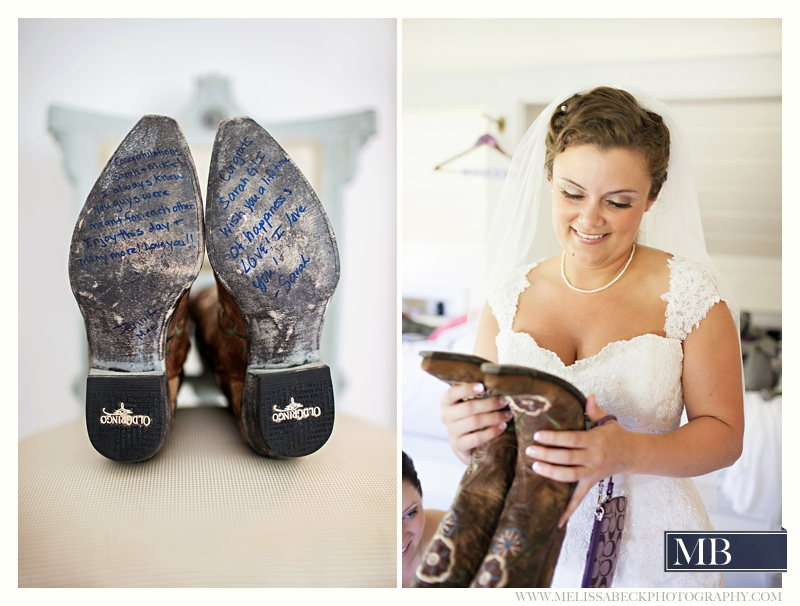 signed wedding boots