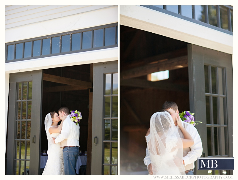 bride and groom the barn at flanagn farm maine wedding