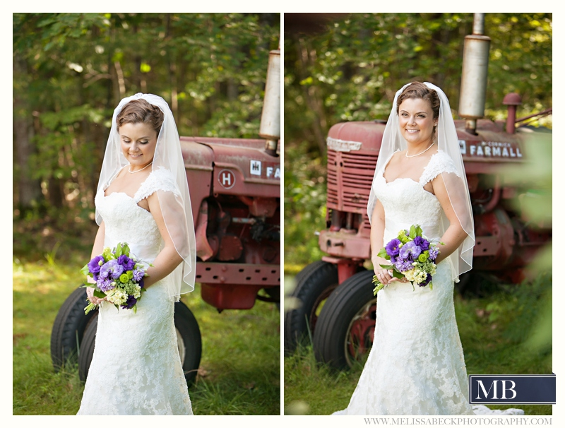 bride with a tractor