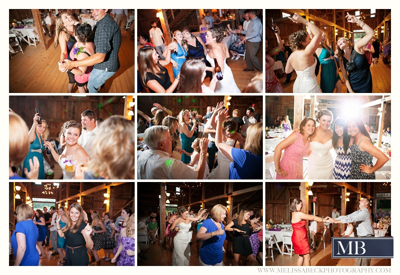 reception dancing the barn at flanagn farm maine wedding
