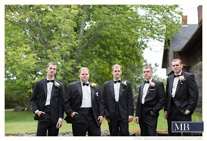 bridal party the rocks estate new england wedding photography