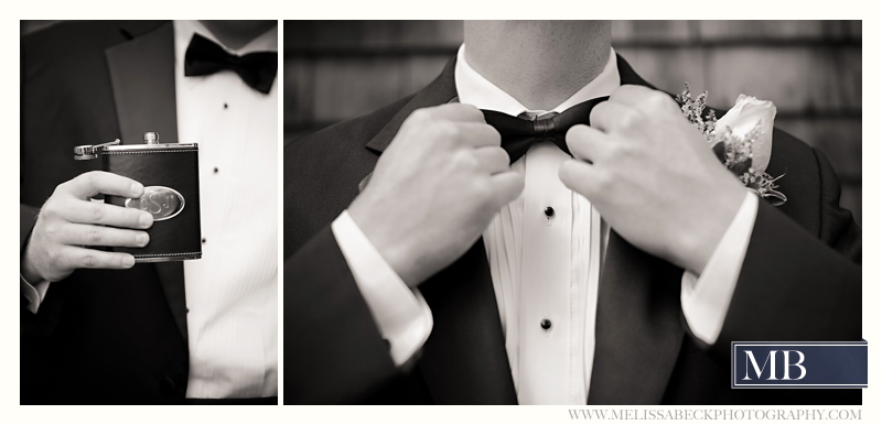 groom with flask and bow tie