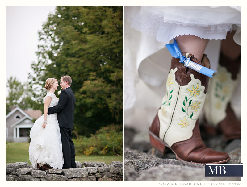 brides boots with something blue